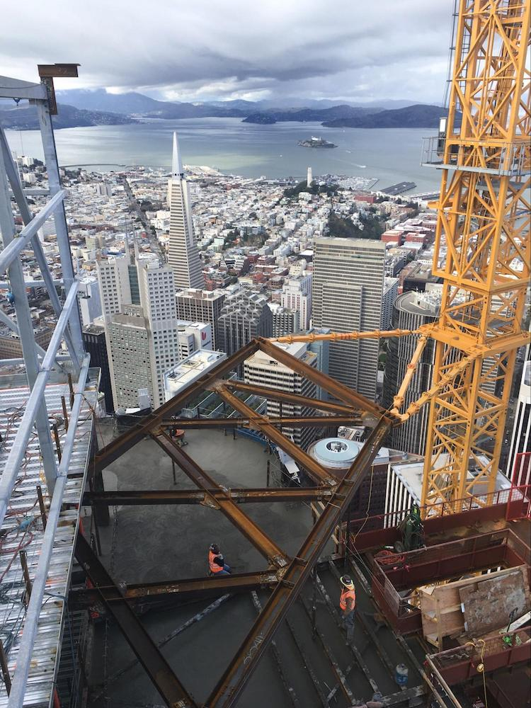 Salesforce Tower Construction Worker Looks Back, and Down