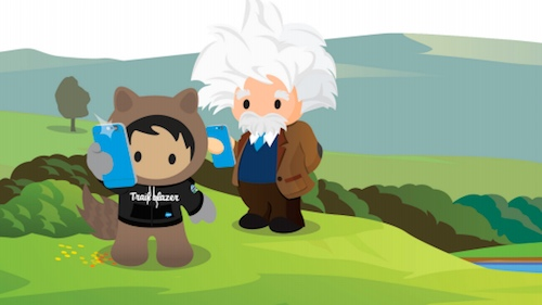 Illustration of Astro and Einstein with iPhones