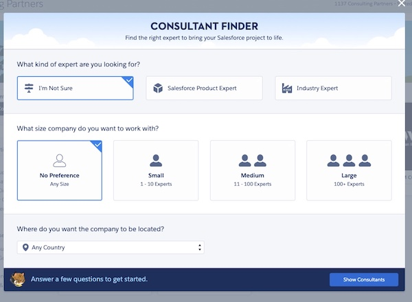Screenshot of the Consultant Finder