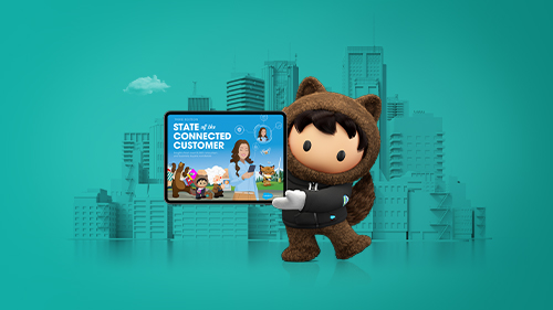 Illustration of Salesforce characters in a customer experience scene
