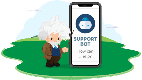 Illustration of Einstein with a support bot