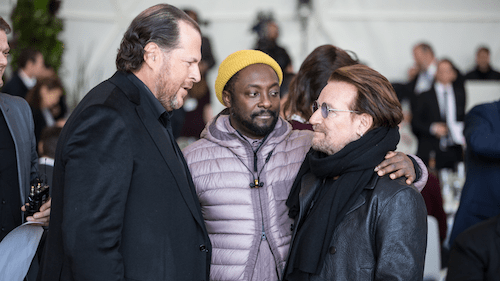Marc Benioff, Will.i.am, and Bono at the Ocean Day lunch.