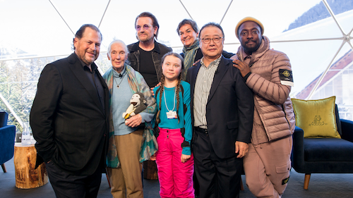 Photo of Marc Benioff by Jane Goodall, Bono, teen climate activist Greta Thunberg, diplomat and environmentalist Christiana Figueres, President & CEO of Sompo Holdings Kengo Sakurada, and will.i.am