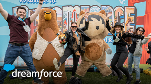 Photo of Dreamforce attendees and Salesforce characters