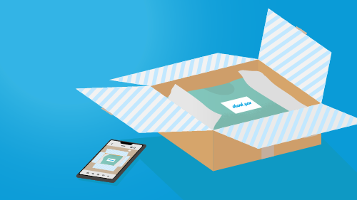 Illustration of mobile phone and a package for Black Friday