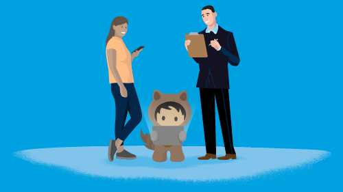 Illustration with Astro and two business people