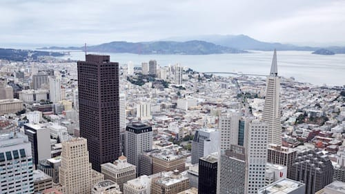 View from the top of Salesforce Tower in San Francisco, California