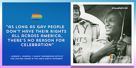 "Graphic of Marsha P. Johnson quote: ""As long as gay people don't have their rights all across America, there's no reason for celebration,"" said Marsha P. Johnson"