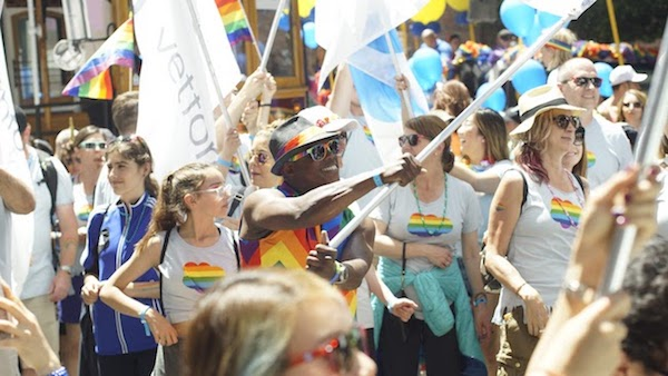 Salesforce employees participating in the 2018 Pride parade in San Francisco