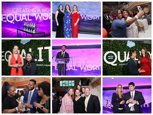 Collage featuring highlights from the Salesforce's Equality Awards.