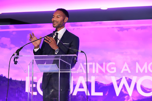 Tony Prophet, Salesforce's Chief Equality Officer, giving his opening remarks at the ceremony.