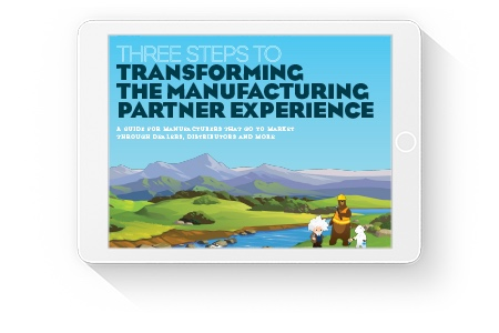 Cover page for Salesforce ebook, 'Three Steps to Transforming the Manufacturing Partner Experience.'