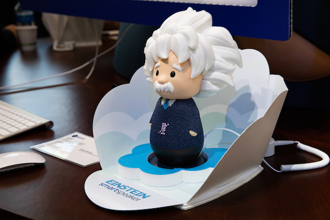 Salesforce revealed the new voice capabilities for Einstein by showing off an Einstein smart speaker at Dreamforce 2019.