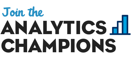 """Join the Analytics Champions"" with a bar graph icon"
