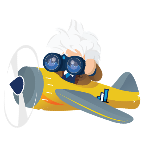 Salesforce character Einstein flying a sparkling yellow propeller plane and looking through binoculars