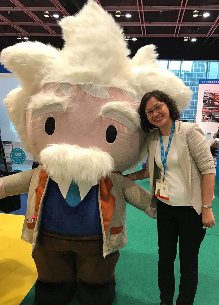 Jane posing with Einstein