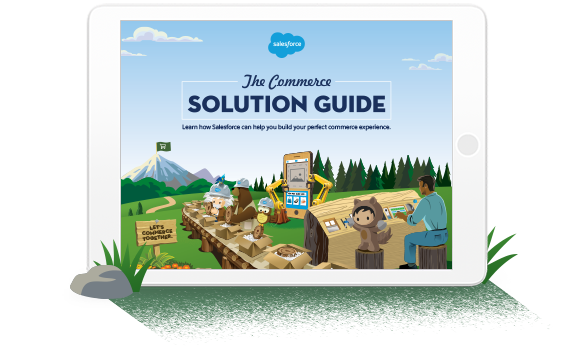 The Commerce Solution Guide, displayed on a tablet screen