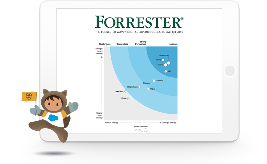 Astro character dancing and waving a flag in front of a tablet screen displaying the recent Forrester report
