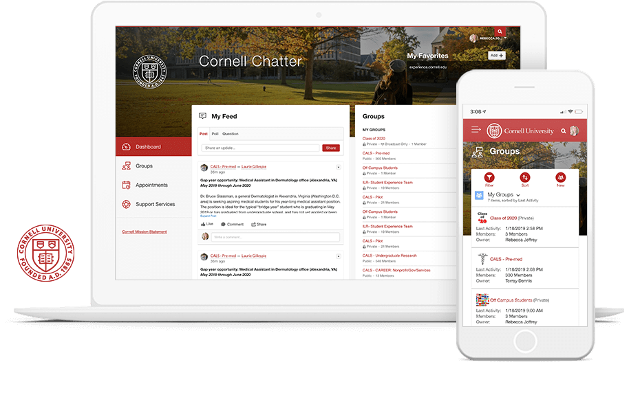 Cornell University's internal student community on laptop and mobile.
