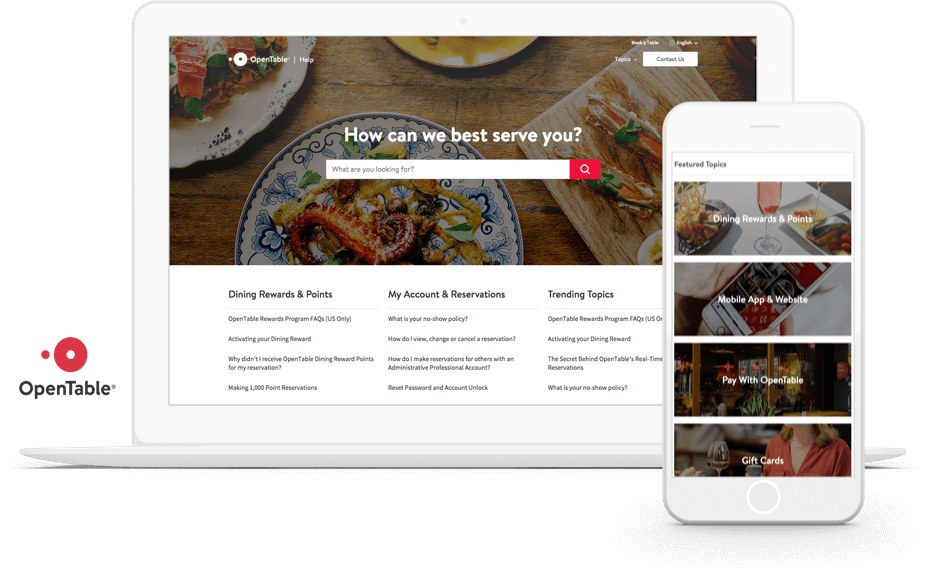 The OpenTable self-service portal is branded, adaptive, and built on Community Cloud.