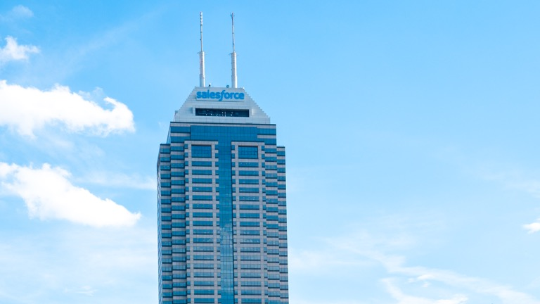 A photo of the Salesforce building in Indianapolis