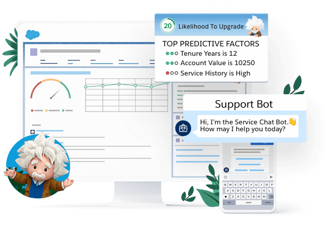 A desktop screen highlighting Einstein's predicted likelihood for a customer to upgrade their account in a Salesforce org and a mobile screen showing a customer chatting with a chat bot.
