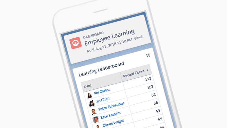 myTrailhead Employee Learning Dashboard displayed within a mobile device