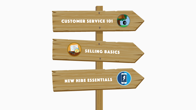 "Image of Trail signs that read ""Customer Service 101,"" ""Selling Basics,"" and ""New Hire Essentials"""