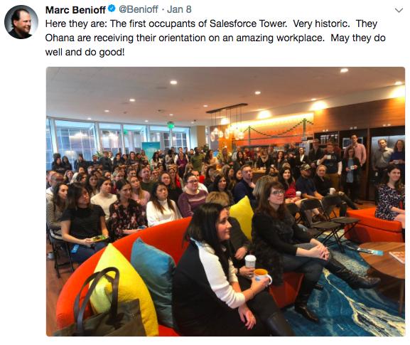 This is screenshot of Marc Benioff's tweet