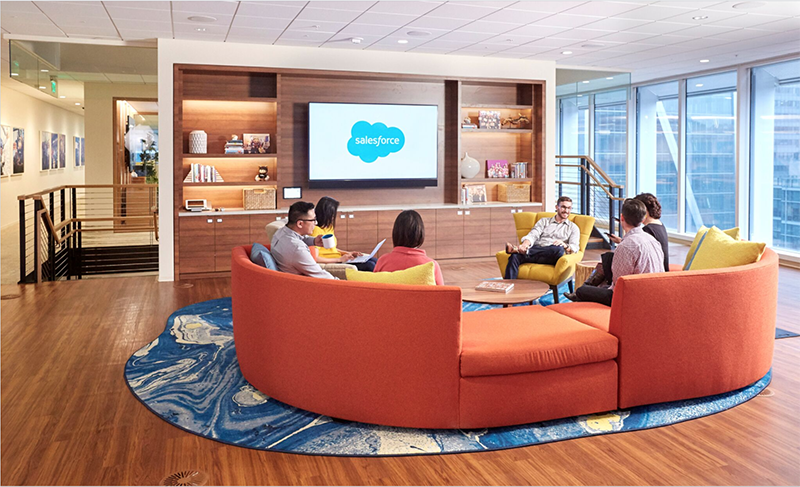This is a picture of the social lounges in the Salesforce Tower