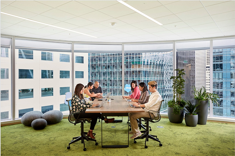 This is a picture of the flexible workspaces in the Salesforce Tower