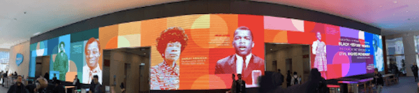 Black History Month Screens in our Salesforce lobbies highlighting Civil Rights heroes.