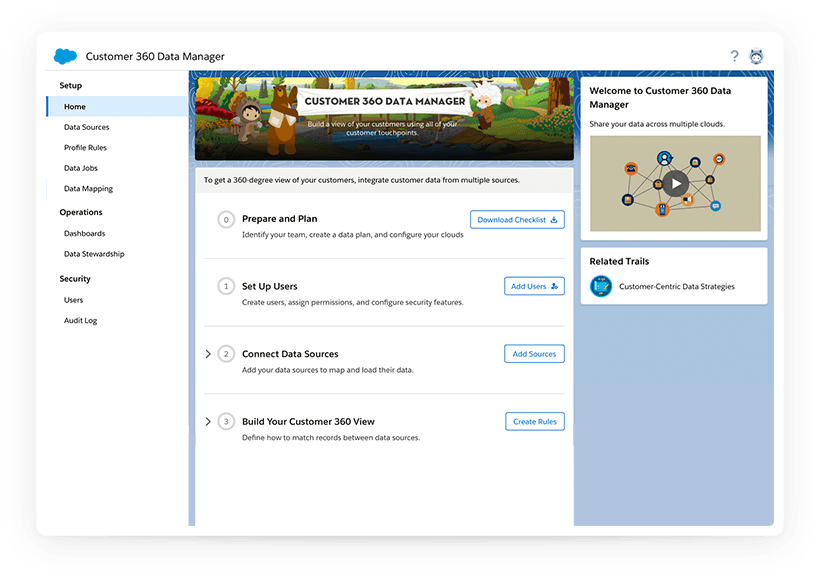 Desktop screen of the Customer 360 Platform setup page.