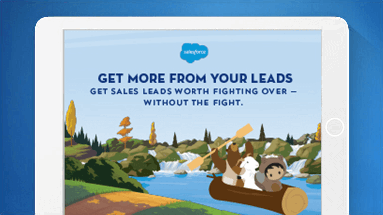 Salesforce characters boating down a river