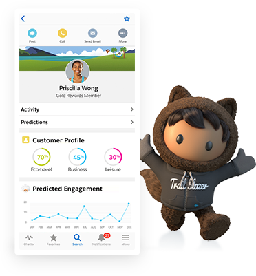 Product screen showing a contact profile on the Salesforce mobile app.